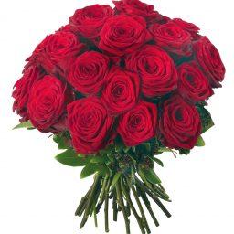 Bouquet de roses rouges 70 cm avec feuillage